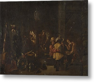 Interior Scene With Soldiers Paying Metal Print