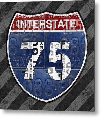 Interstate 75 Highway Sign Recycled Vintage License Plate Art On Striped Concrete Metal Print by Design Turnpike