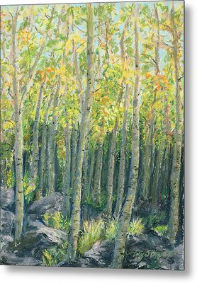 Into The Aspens Metal Print