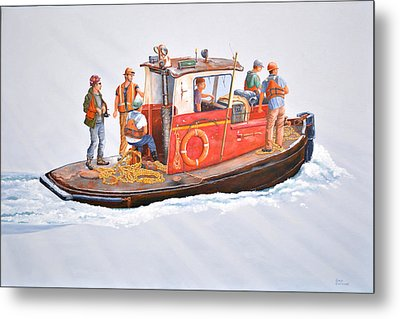 Into The Mist-the Crew Boat Metal Print
