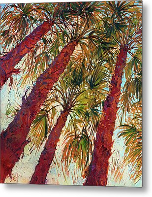 Into The Palms - Diptych Left Metal Print by Erin Hanson
