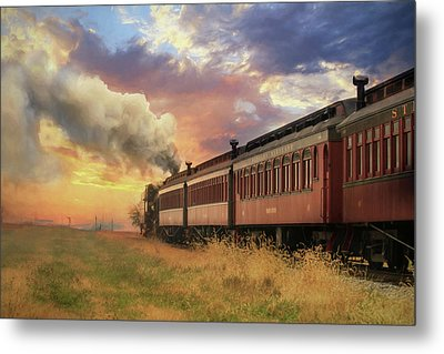 Metal Print featuring the mixed media Into The Sunset by Lori Deiter