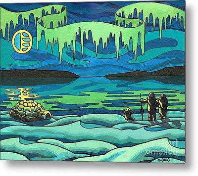 Inuit Love Arctic Landscape Painting Metal Print by Kim Hunter