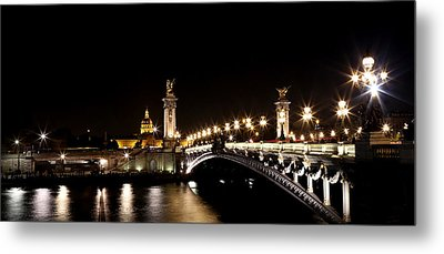 Metal Print featuring the photograph Invalides At Night 1 by Andrew Fare