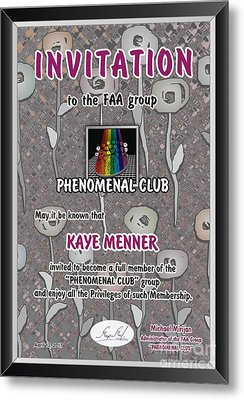Metal Print featuring the photograph Invitation To Phenomenal Club Faa by Kaye Menner