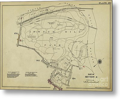 Metal Print featuring the photograph Inwood Hill Park 1950's Map by Cole Thompson