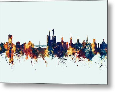 Metal Print featuring the digital art Iowa City Iowa Skyline by Michael Tompsett