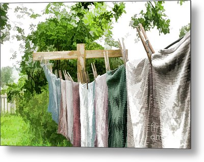 Iowa Farm Laundry Day  Metal Print by Wilma Birdwell