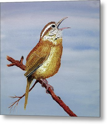 Metal Print featuring the painting Irate Wren by Thom Glace