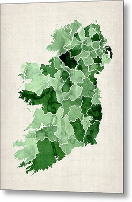 Ireland Watercolor Map Metal Print by Michael Tompsett