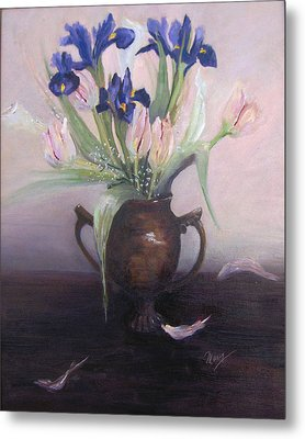 Iris And Tulips Metal Print by Marcy Silverstein