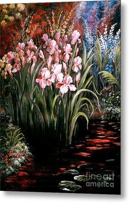Iris By The Pond Metal Print