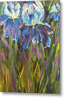 Metal Print featuring the painting Iris Floral Garden by Claire Bull