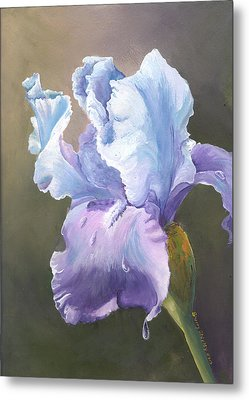 Metal Print featuring the painting Iris Tears by Sherry Shipley