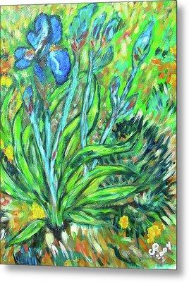 Irises Ala Van Gogh Metal Print by Carolyn Donnell