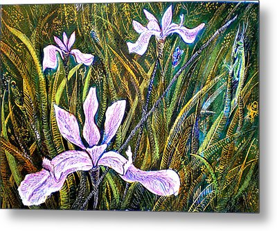 Irises And Grasshopper Metal Print by Ion vincent DAnu