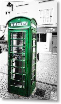 Irish Phone Booth In  Kinsale Metal Print by George Oze
