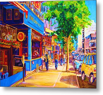 Metal Print featuring the painting Irish Pub On Crescent Street by Carole Spandau