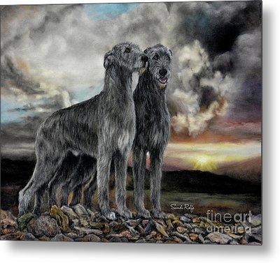 Irish Wolfhound Pair - Majestic Irish Sunset Metal Print