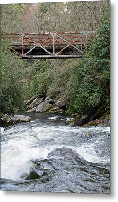 Iron Bridge Over Chattooga River Metal Print by Bruce Gourley