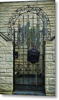 Iron Gate With Colorful Beads Metal Print by Garry Gay