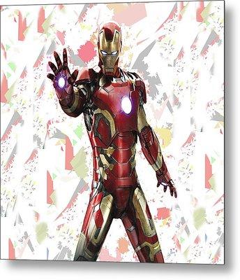 Metal Print featuring the mixed media Iron Man Splash Super Hero Series by Movie Poster Prints