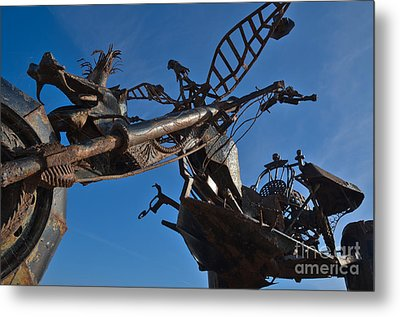 Iron Motorcycle Sculpture In Faro Metal Print