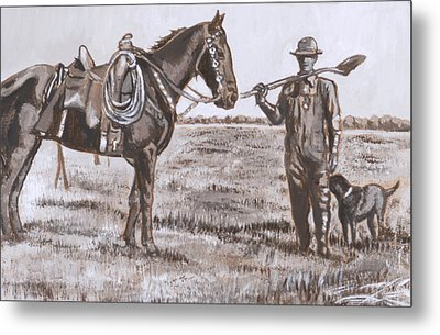Irrigating The Hay Meadows Historical Vignette Metal Print by Dawn Senior-Trask