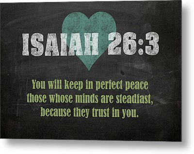 Isaiah 26 3 Inspirational Quote Bible Verses On Chalkboard Art Metal Print