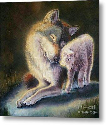 Isaiah Wolf And Lamb Metal Print