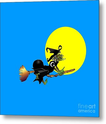 Islamic Flying Witch Metal Print