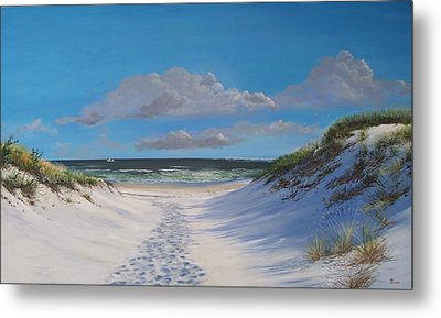 Island Beach Dune Walk Metal Print