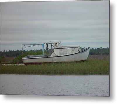 Island Boat Two Metal Print by Debbie May