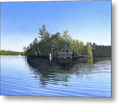 Metal Print featuring the painting Island Boathouse Muskoka  by Kenneth M Kirsch