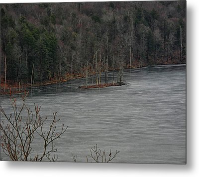 Island In A Frozen Canopus Lake Metal Print by Raymond Salani III