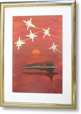 Metal Print featuring the painting Island In The Sky With Diamonds by Ron Davidson
