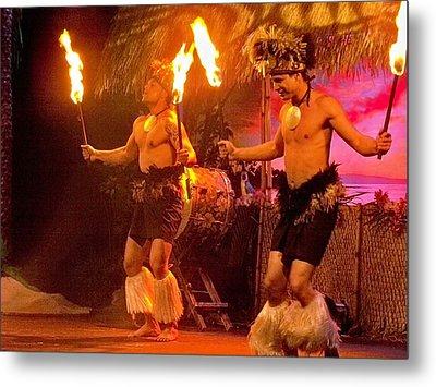 Island Of Fire Dancers Metal Print