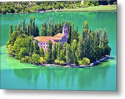 Island Of Visovac Monastery In Krka  Metal Print by Brch Photography
