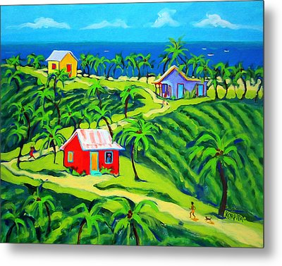 Island Time - Colorful Houses Caribbean Cottages Metal Print by Rebecca Korpita