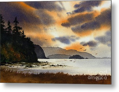 Metal Print featuring the painting Islands Autumn Sky by James Williamson