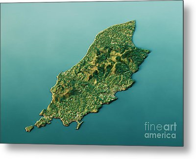 Isle Of Man 3d Landscape View South-north Natural Color Metal Print