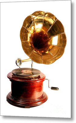 Isolated Antique Gramophone Metal Print