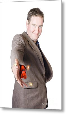 Isolated Businessman Offering Explosive Handshake Metal Print by Jorgo Photography - Wall Art Gallery