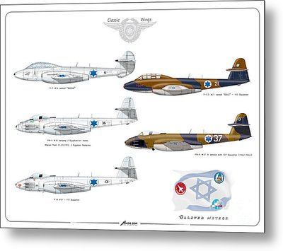 Israeli Air Force All Times Gloster Meteors Metal Print by Amos Dor