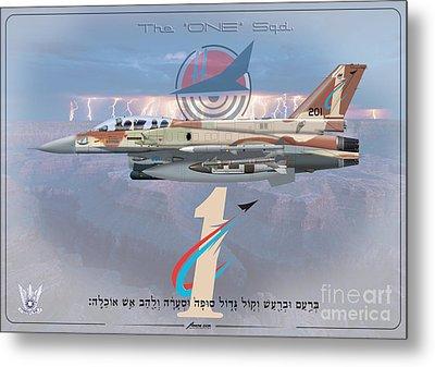 Israeli Air Force F-16i Sufa The One Squadron  Metal Print by Amos Dor