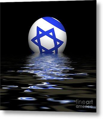 Israeli  Flag Rising/setting Metal Print