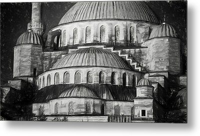 Istanbul Blue Mosque - Charcoal  Sketch Metal Print by Stephen Stookey