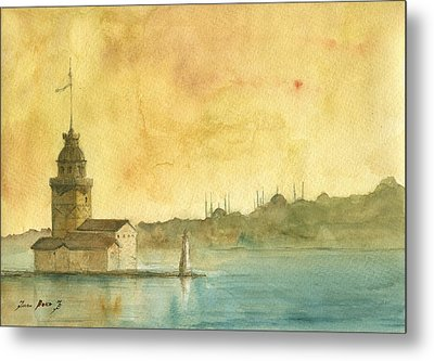 Istanbul Maiden Tower Metal Print