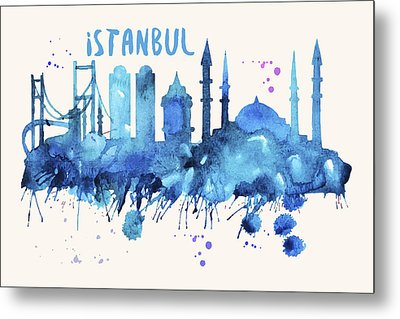 Istanbul Skyline Watercolor Poster - Cityscape Painting Artwork Metal Print