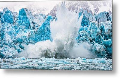 It Makes A Big Splash - Glacier Calving Photograph Metal Print